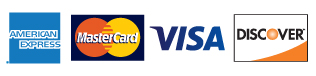 we accept american express, master card, visa and discover cards