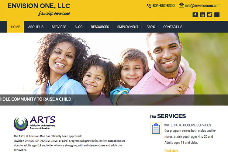 Envision One Family Services website slide